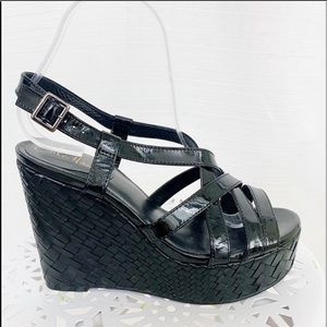 Cole Haan Black Patent Weave Wedge Sandal 7.5 NEW